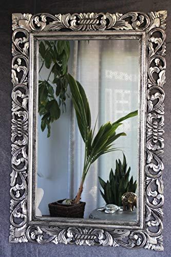 Naturesco Barockspiegel Wandspiegel Holzrahmen geschnitzt Silber antik 120cm x 80cm