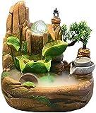Knoijijuo Chaoshi - Fuente decorativa de escritorio para interior, pequeña cascada de agua, resina rockery, pequeños contenedores de peces, decoración de salida, regalos con atomizador, M