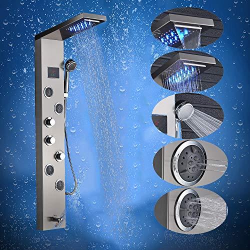 Saeuwtowy LED Panel de Ducha Con Cascada y Ducha de Lluvia Columna de Ducha Hidromasaje Ducha Moderna 5 Funci/ón Acero Inoxidable con Pantalla LCD para Ba/ño
