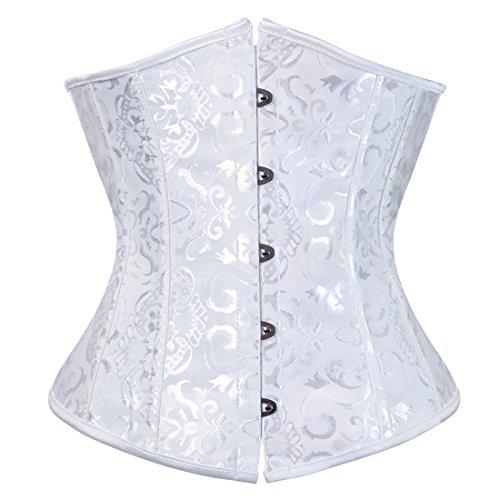 Zhitunemi Women's Lace Up Boned Jacquard Brocade Waist Training Underbust Corset 6X-Large White