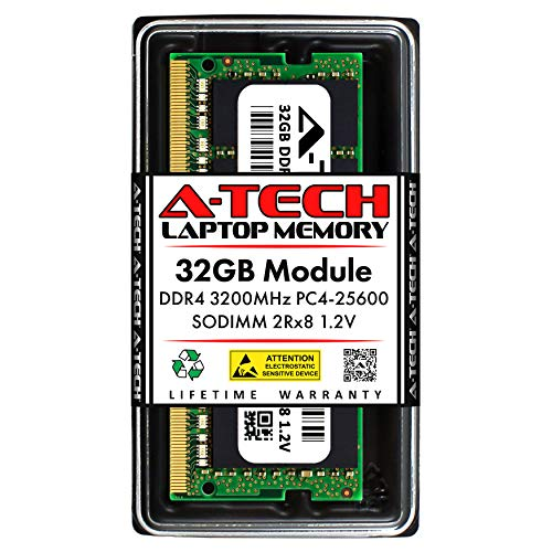 A-Tech 32GB Memory RAM for Dell Alienware Area 51M R2 - DDR4 3200MHz PC4-25600 Non ECC SO-DIMM 2Rx8 1.2V - Single Laptop & Notebook Upgrade Module (Replacement for SNPP6FH5C/32G)