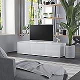 Irfora Fernsehtisch TV Schrank TV Tisch TV Möbel TV Lowboard TV Board Fernsehschrank Fernsehtisch TV-Schrank Hochglanz-Weiß 120 x 34 x 30 cm Spanplatte
