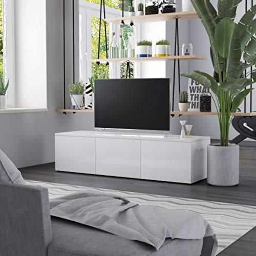 Tidyard Fernsehschrank TV Board TV Schrank mit 3 Schubladen TV Möbel, Hochglanz-Weiß, 120 x 34 x 30 cm