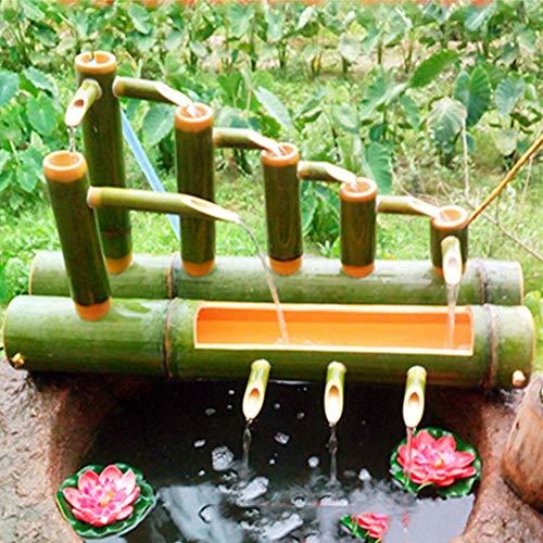 ZLBIN Fuente De Agua con Caña De Bambú, Bomba De Estanque,Bomba De Agua para Jardín,Jardín Kit De,65cm