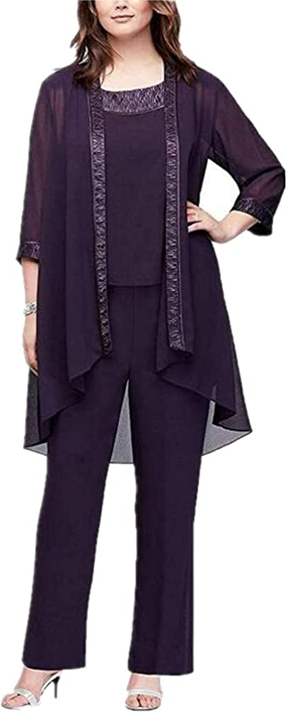 Mother of The Bridal Pant Suits Chiffon Women's 3 Pieces Long Sleeve with Outfit Plus Size for Wedding Grooms