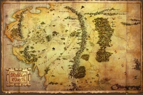 The Hobbit: An Unexpected Journey - Giant XXL Movie Poster (Map Of Middle Earth) (Size: 55