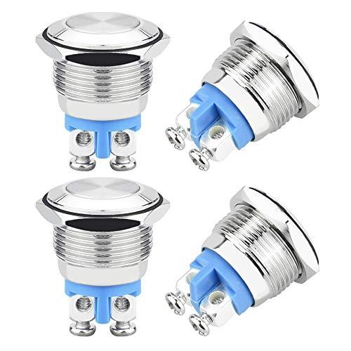 TANCUDER 4 PCS Pulsador de Botón Metálico Momentáneo Botón Pulsador Impermeable Interruptores de Botón Metal Mini Interruptor de Botón de Enganche DC 36V 1A para Coche Lámpara Timbre (16mm)