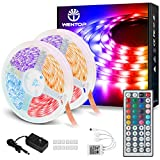 WenTop Led Light Strip Kit SMD 5050 32.8 Ft (10M) 300leds RGB 30leds/m with DC12V Listed Power Supply and 44 Key Ir Controller for TV, Bedroom,Kitchen Under Counter, Under Bed Lighting
