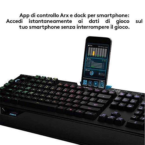 Logitech G910 Orion Spectrum Tastiera Gaming Meccanica Illuminata, Tasti Retroilluminati LIGHTSYNC RGB, Switch Romer-G Tactile, 9 tasti G Programmabili, Secondo Schermo Arx, Layout USA QWERTY