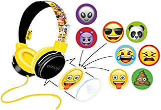 (Yellow) - Emoji Flip N Switch Customisable Headphones (Yellow)