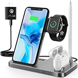 4 In 1 Wireless Charging Station Saferell 2020 Upgraded Qi Certified Fast Charging Dock Stand For Apple Watch Series 6se5432 Airpods Pencil Compatible With Iphone 1211 Proxsxr8samsung