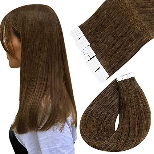 Easyouth Extension Adhesive Cheveux Naturel Couleur Brown Hair Extension Adhesive Naturel Humains Cheveux Straight Extensions Hair Human Hair 12Pouces 60g 40Pcs