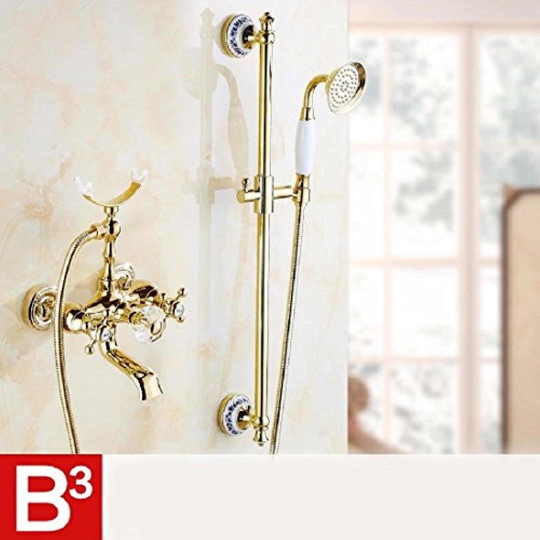 ETERNAL QUALITY Badezimmer Waschbecken Wasserhahn Messing Hahn Waschraum Mischer Mischbatterie Tippen Sie auf VerGoldete Dusche kit antiken Doppel die heien und kalten B