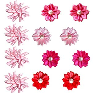 Masue Pets 20pcs/10 Pairs Puppy Dog Hair Bows for Valentine's Day Pink Rose Dog Bow with Rubber Bands Paw Curve Bows Petal Flower Bows Combination Dog Bows Gorgeous Dog Grooming Products