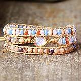 Bracelets de Charme Femme Sunstone Cristal Japonais Opal 3 Couches Vegan Wrap Bracelets MultiLayers Bestfriend Bracelet Bijoux Fantaisie Cadeaux de Noël spéciaux