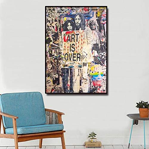 MJKLU Dibujar coreBanksy Pareja Simple Amor Pintura en Aerosol Cuadro de la Pared Arte Callejero Graffiti Lienzo impresión Cartel Sala de Estar Moderna Arte Abstracto decoración 65X85CM