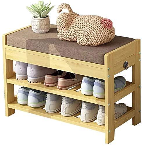 ZouYongKang Gabinete de Zapatos de Almacenamiento de Zapatos/Organizador de Calzado de Entrada, gabinete de Zapatos de Madera de Almacenamiento de bambú de Dos Niveles con cojín de Asiento extraíble