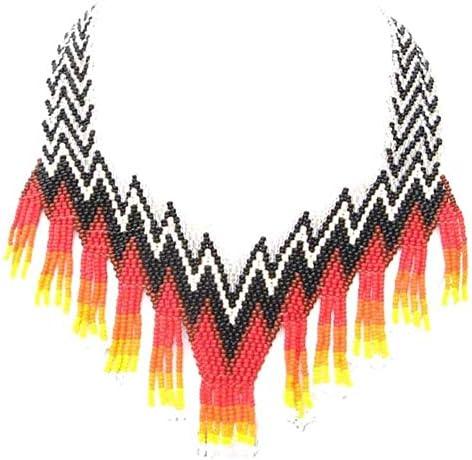 Handmade Native Style Multi Color Beaded Mountain Range Choker Necklace .N-20-SB-11