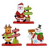 YUIP 3 PCS Decoración de escritorio de Papá Noel, Desmontable Lindo muñeco de nieve de Papá Noel...