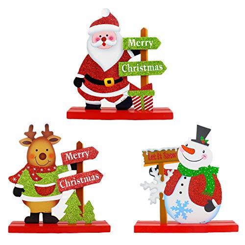 YUIP 3 PCS Decoración de escritorio de Papá Noel, Desmontable Lindo muñeco de nieve de Papá Noel Elk Adorno de dibujos animados de Navidad Artesanía de alce Regalos para niños de centro