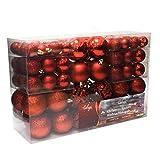 Set de 100 Bolas de Navidad Ø3/4/6cm plástico Rojo Adornos del árbol de Navidad decoración navideña decoración para el Abeto
