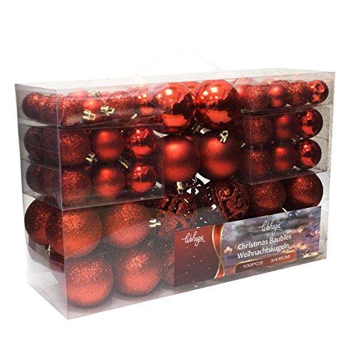 Set de 100 Bolas de Navidad Ø3/4/6cm plástico Rojo Adornos del árbol de...