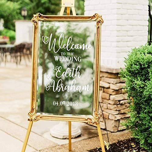 "Vinyl Art Decal - Custom Welcome to The Wedding of - 30"" x 22"" - Elegant Vertical Layout Personalized Wedding Greeting Couples Bride Groom Marriage Reception Love Decor (30"" x 22"" - Vertical)"