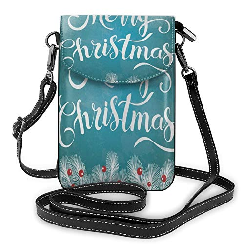 Merry Christmas Glittering Lettering Teal Small Crossbody Cell Phone Case Purse Bags Ladies Handbags for Women