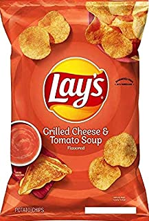 Lay's Fall Edition Flamin' Hot/Original Dill Pickle/ Grilled Cheese & tomato Soup/ Potato Chips Net Wt 7.75Oz (Tomato Soup Single Bag, 1)