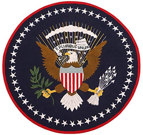 US Logo Flag 8'x8' Eagle Pluribus President Handmade Tufted 100% Woolen Round Rugs & Carpet