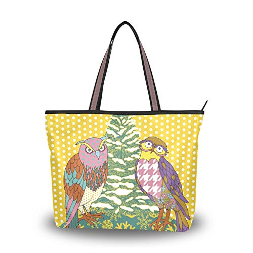 for Women Girls Ladies Student Light Weight Strap Tote Bag Handbags Purse Shopping Shoulder Bags Merry Christmas Owl Animal Cute Art