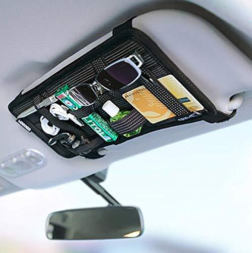 Car Sun Visor Organizer, Auto Interior Accessories Pocket Organizer, Car Visor Storage Anti-Slip Elastic Woven Board Personal Belonging Storage Pouch , Interior Accessories Pocket Organizer (Black)
