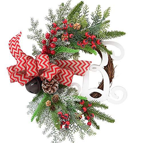 Allsunny Guirnalda De Navidad Elk Flor De Mariposa Corona De Ratán Puerta De Casa Adorno Colgante De Pared Frutero Rojo