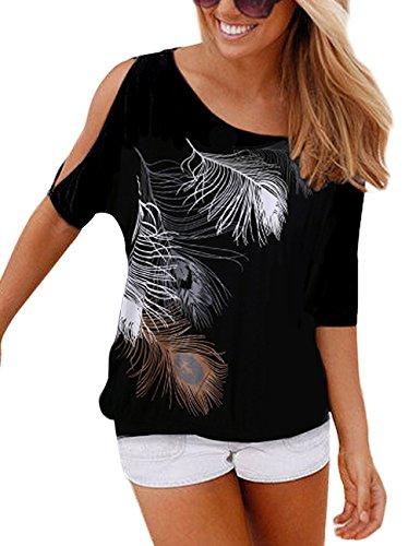 Yidarton Sommer Frauen Bluse weg von der Schulter Short Sleeve Feder Druck Muster Jumper Tops Pullover T-Shirt, Schwarz, L