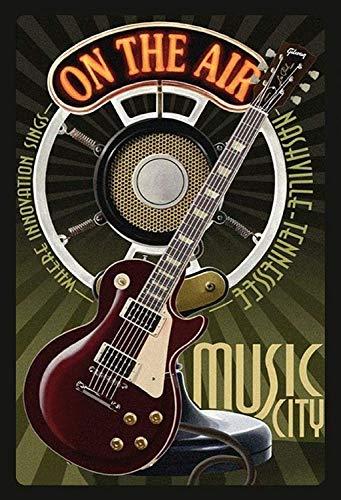 NWFS gitaar Music City Nashville metalen bord bord metalen plaat metaal tin teken gebogen gelakt 20 x 30 cm