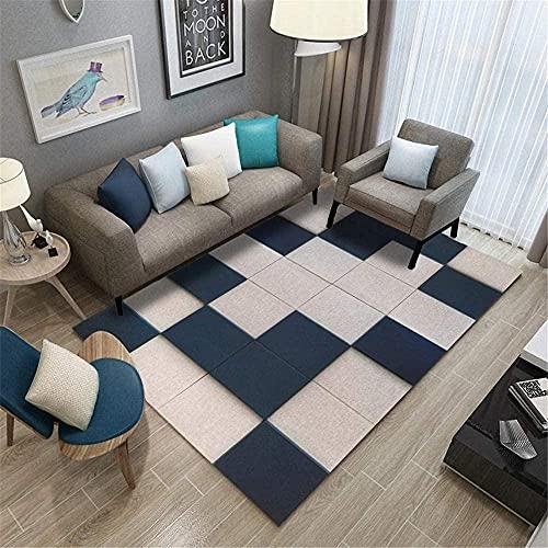 Moderna Home Alfombra De Diseño Patrón geométrico Crema Azul Oscuro Sala De Estar Dormitorio Pasillo Antideslizantes Alfombras 120X160CM (47'' x 63'')