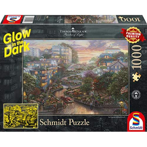Schmidt Spiele- Thomas Kinkade, San Francisco, Lombard Street, Glow in The Dark Puzzle da 1000 Pezzi, Multicolore, 59497