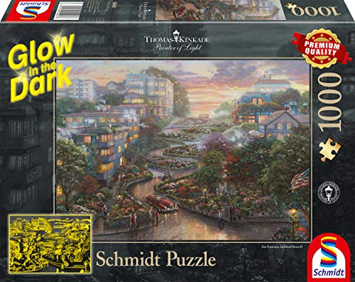 Schmidt Spiele- Thomas Kinkade, San Francisco, Lombard Street, Glow in The Dark Puzzle da 1000 Pezzi, Multicolore, 59497