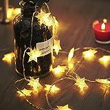 LED Lichterkette 4M/13.2ft Weihnachtsdeko 40er Warmweiß Sternen Lichterkette, Weihnachten Innen Deko 4.5v Lichterkette Batterie,Lichterkette Weihnachtsbaum,Lichterketten für Zimme,MEHRWEG