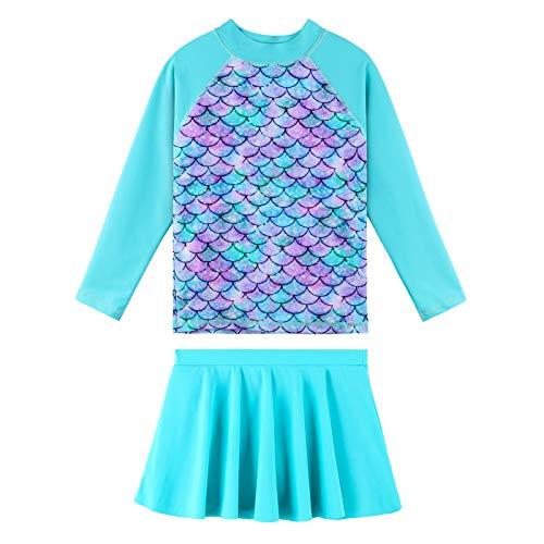 TFJH E Traje de baño de manga larga para niñas, traje de baño de dos piezas, protección contra erupciones UPF 50+, Escala cian, 11-12 Años