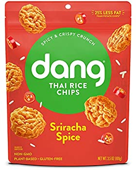 Dang Thai Rice Chips | Sriracha Spice | 4 Pack | Vegan Gluten Free Non Gmo Rice Crisps Healthy Snacks Made with Whole Foods | 3.5 Oz Resealable Bags
