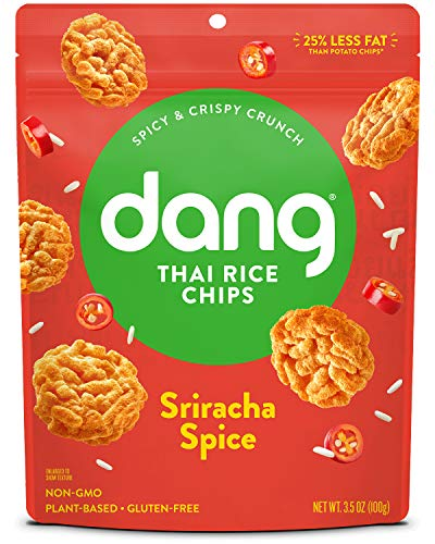 Dang Thai Rice Chips | Sriracha Spice | 4 Pack | Vegan, Gluten Free, Non Gmo Rice Crisps, Healthy Snacks Made with Whole Foods | 3.5 Oz Resealable Bags