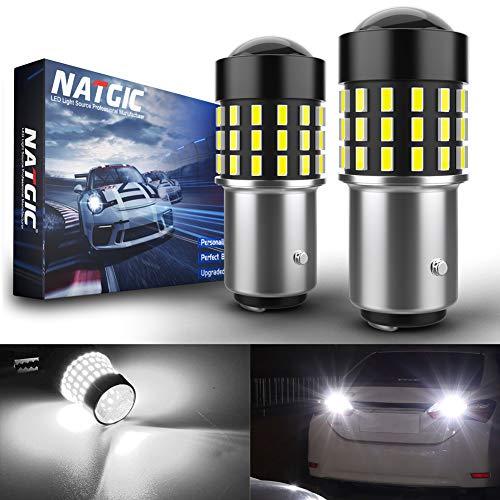 NATGIC 1157 BAY15D 1016 7528 Ampoules LED Jeu de puces 3014SMD 54-EX extrêmement Lumineux avec projecteur pour objectifs de recul pour Feux arrière, Blanc Xenon 12-24V (Lot de 2)