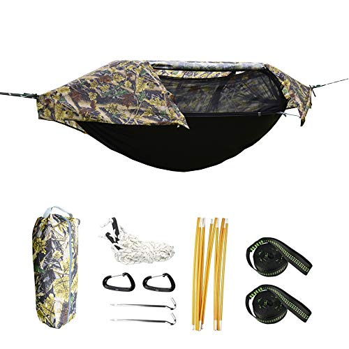 Camping Hammock with Net and Rainfly Cover, Lightweight Portable Hammock for Outdoor Backpacking Hiking Travel(Camouflage)