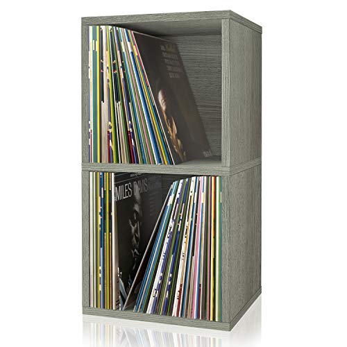 Way Basics 2-Shelf Cube Book Case, Vinyl LP Record Album Storage (Tool-Free Assembly and Uniquely Crafted from Sustainable Non Toxic zBoard Paperboard), Grey