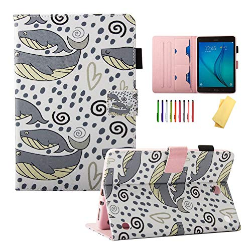 UUcovers Case for Samsung Galaxy Tab A 8.0 inch 2015 Model (SM-T350/T355/P350/P355) with Pencil Holder Card Slots, Stand Smart PU Leather Magnetic Folio Flip Cover [Auto Wake/Sleep], Colored Fish Sea