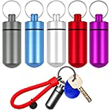 5 Packs Mini Keychain Pill Holder Fob, EFFIET...