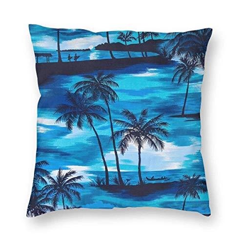 Mackinto Palmeras de Color Azul Fundas de Almohada Decorativas cuadradas Fundas de cojín Suave para sofá Dormitorio Coche 18 X 18 in