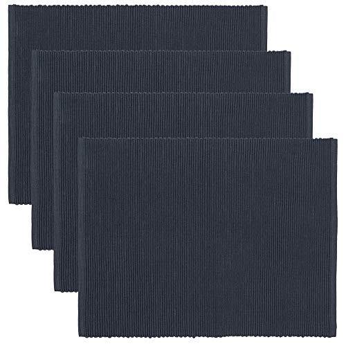 LINUM UNI, Set de Table, Lot de 4, 36 x 46 cm, Coton côtelé, Lavable en Machine (Bleu Tempete)