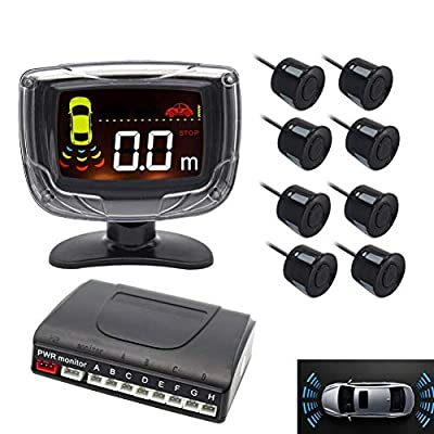 LED Display Car Rearview Reverse Radar System with 8 Parking Sensors, Sizet Front and Rear Parking Buzzer Beeps + LED Distance Display by Sizet